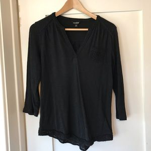 Lucky Brand three-quarter sleeve shirt, black
